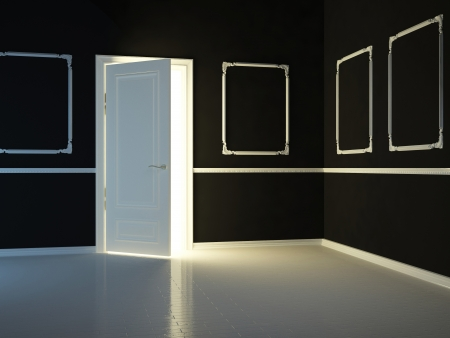 opened: Empty, dark, black, classic room with opened door, 3d render. Stock Photo