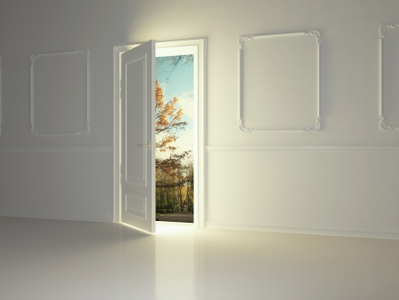 open spaces: Empty, white, classic room with opened door and beautiful view to the park, 3d render.