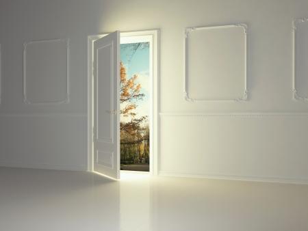 puerta abierta: Vaciar blanco, espacio, clásico con la puerta abierta y una hermosa vista al parque, 3d. Foto de archivo
