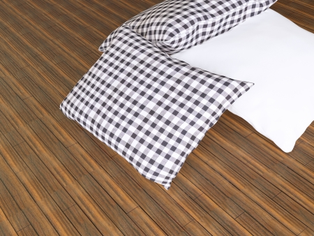 Black and white pillows on the wooden parquet, 3d render photo