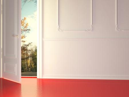 Vuoto, bianco, camera classica con porta aperta e splendida vista sul parco, rendering 3d.