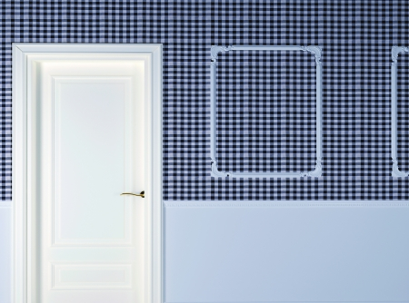 Interior design scene with a door. 3d render. Stock Photo - 15430205