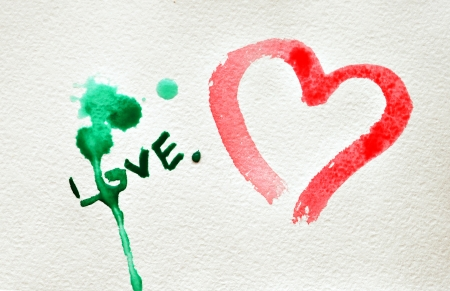 Abstract watercolor hand painted background with heart and blots. photo