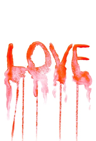 Watercolor hand painted background with love text. photo