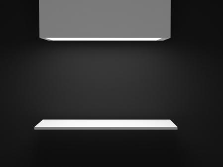 Empty white shelf on black wall. 3d illustration. Stock Illustration - 16455946