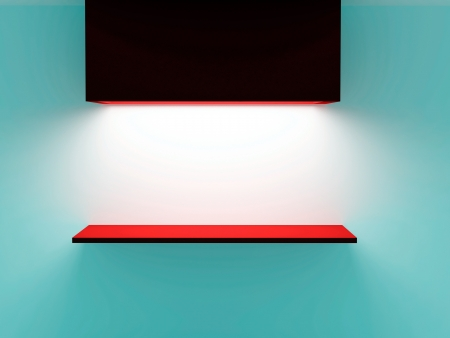 Empty red shelf on blue wall. 3d illustration. Stock Illustration - 16455949
