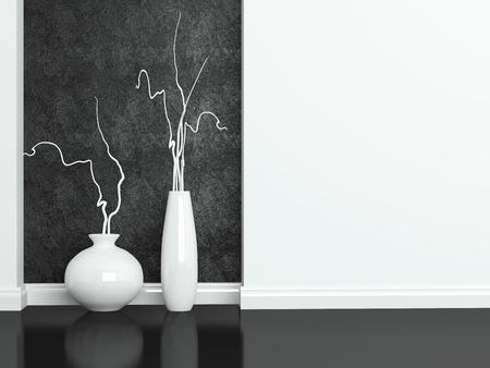 interior shot: Detail shot of modern black and white living room furniture. Interior design.