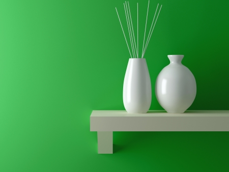 shelf wall: Two white vases on wooden shelf in front of green wall. Interior design.