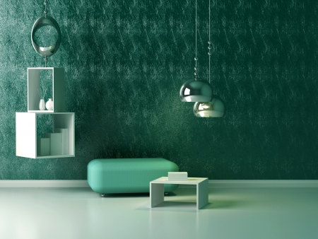 vase plaster: Interior design of modern green lounge. Contemporary furniture indoor.