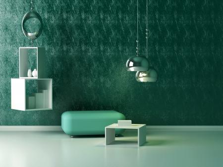 chrom: Interior design of modern green lounge. Contemporary furniture indoor.