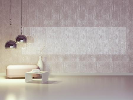 modern: Interior design of modern violet lounge. Contemporary furniture indoor.