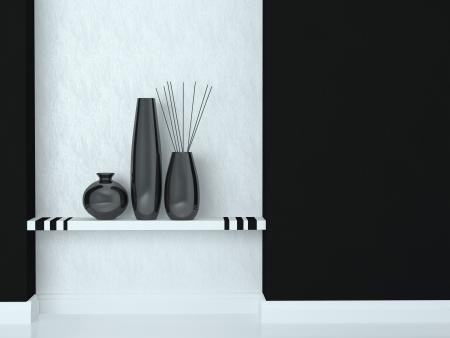 Detail shot of modern living room decor. Black and white interior design. Stock Photo - 16924113