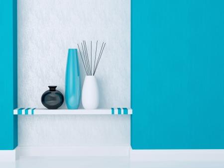 Detail shot of modern living room decor. Blue and white interior design. Stock Photo - 16924115