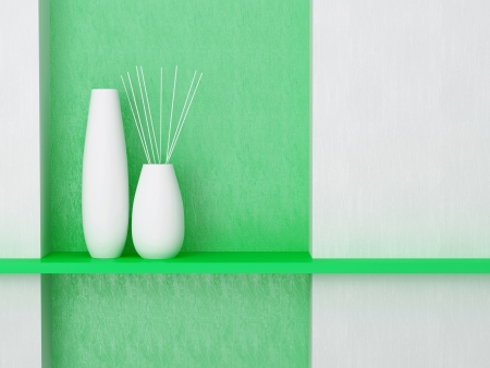 Detail shot of modern living room wall. Green and white interior design. Stock Photo - 17277924