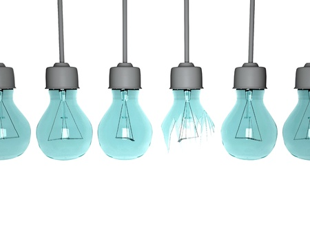 Light bulbs in row isolated on white background.