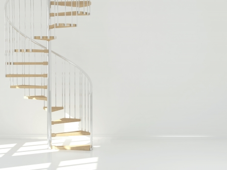 Empty white room with circular staircase, interior design. 3d render Stock Photo