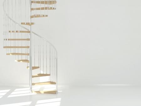 Esvazie o quarto branco com escada circular, design interior. 3d render