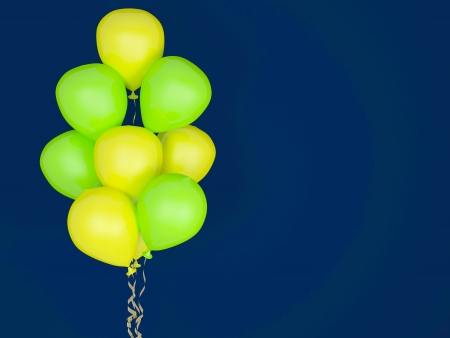 luminescent: Luminescent balloons on blue background. Celebration concept. 3d render. Greeting Card.