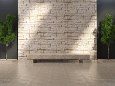 piso piedra: Interior de grunge moderna con banco de m�rmol y paredes de piedra.