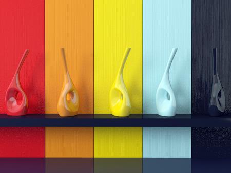 Detail shot of modern coloured wall, vases on shelf  photo