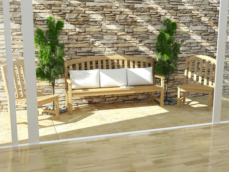 outdoor furniture:  Beautiful open terrace with wooden furniture and stone wall  Exterior design