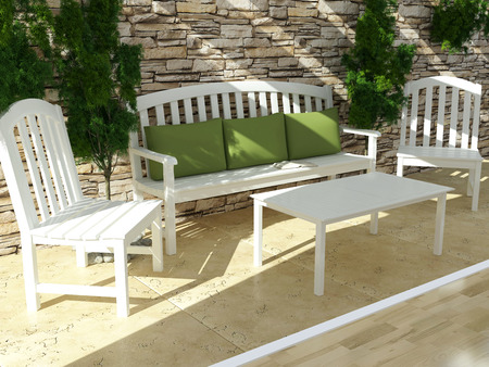 Beautiful open terrace with white wooden furniture and stone wall  Exterior design  Banco de Imagens