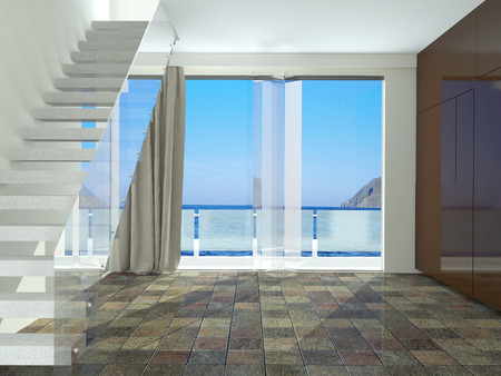 sea view: Spacious empty room with stairs, with a beautiful view of the sea. Interior design. Stock Photo