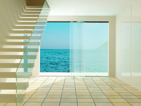 living room wall: Spacious empty room with stairs, with a beautiful view of the sea.