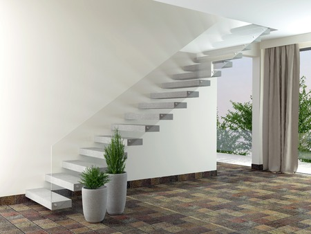 Luxury empty room with stairs and plants. Interior design. Stock Photo