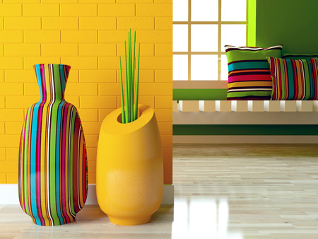 Detail shot of modern living room with two bright vases on the floor. Interior design. photo