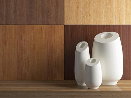 Detail shot of modern vases on the wooden shelf. Interior design. photo