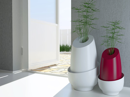 Two Contemporary Vases On The Floor Near Open Door Modern Interior
