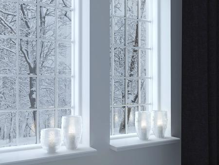 Útulný pokoj. Svícny na okenním parapetu. Zimní krajina oknem.