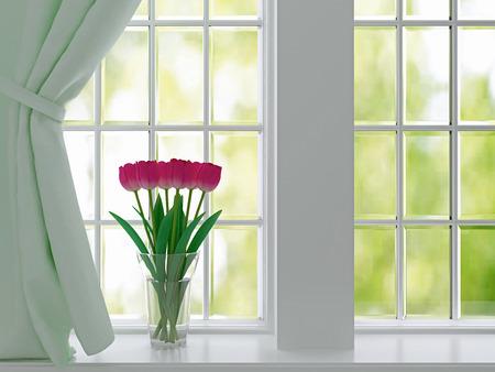 window curtain: Bouquet of pink flowers (tulips) on a windowsill.