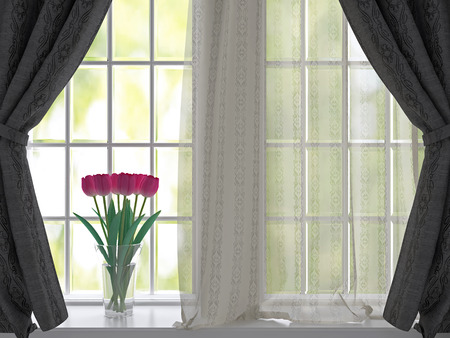 Bouquet of pink flowers (tulips) on a windowsill. Window with black  curtains. photo