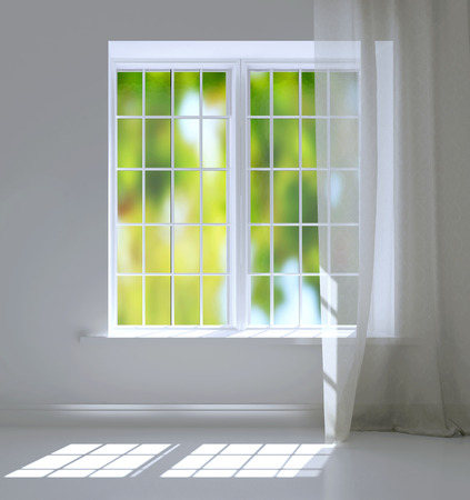 Modern residential window with trees behind. Empty white room. photo