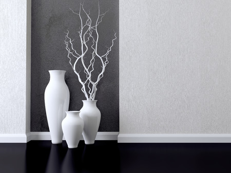Detail shot of modern living room wall. Luxury monochrome interior design. Stock Photo