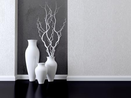 interior shot: Detail shot of modern living room wall. Luxury monochrome interior design. Stock Photo