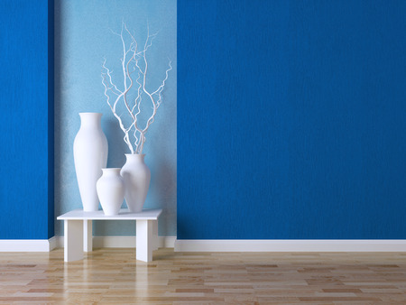 Detail shot of modern living room wall. Luxury interior design, vases on the table. photo