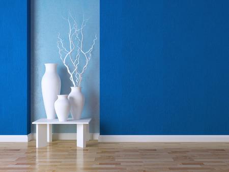 Detalhe o tiro de parede moderna da sala de estar. Luxo de design de interiores, vasos em cima da mesa.