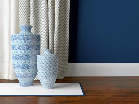 indigo: Detail shot of classic living room wall. Luxury interior design. Stock Photo