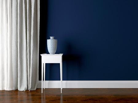클래식 거실 벽입니다. 럭셔리 인테리어 디자인, 테이블에 꽃병입니다. 스톡 콘텐츠