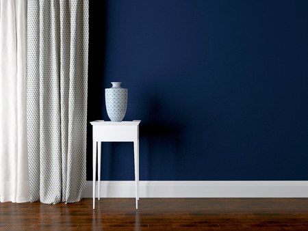 indigo: Classic living room wall. Luxury interior design, vase on the table.