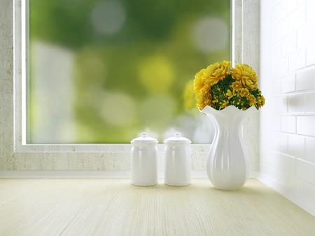 rosas amarillas: Vajilla de cer�mica en la encimera de madera. Dise�o de la cocina blanca.