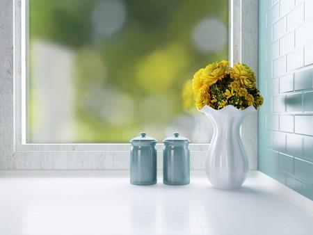 Ceramic tableware on the worktop. Kitchen design. Stock Photo