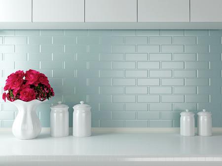 Keramisch tafelgerei op het werkblad. Witte keuken design.