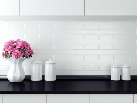 조리대에 세라믹 식기. 검은 색과 흰색 부엌 디자인.