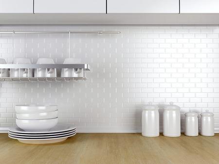 Kitchenware on the wooden worktop. White kitchen design.