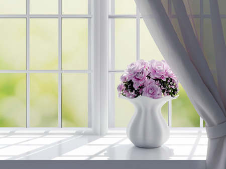 open windows: Bouquet of pink flowers (roses) on a windowsill. Stock Photo