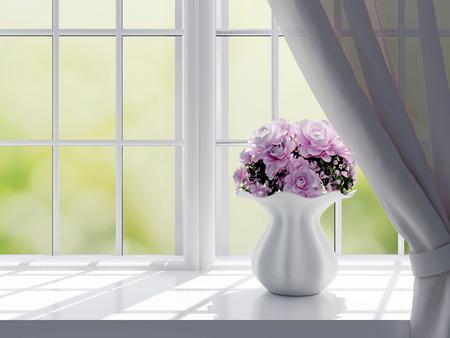 Ramo de flores de color rosa (rosas) en un alféizar de la ventana.